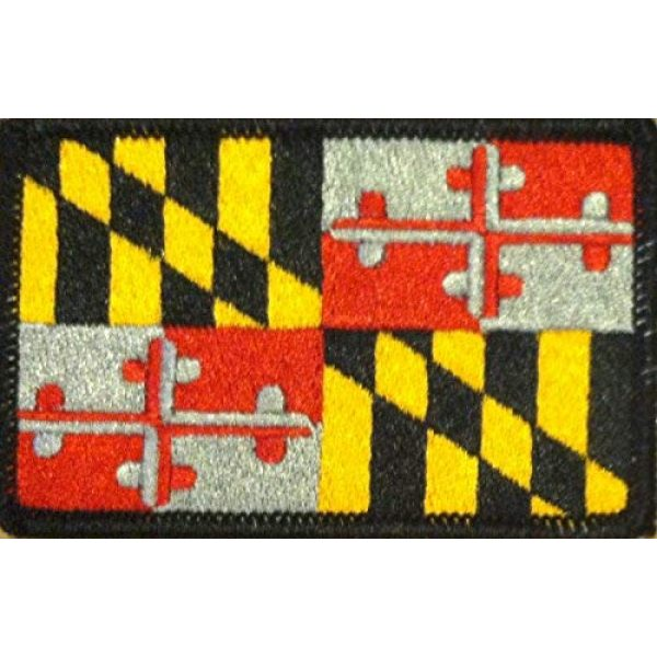 Fast Service Designs Airsoft Morale Patch 1 Maryland State Flag Patch with Hook & Loop MC Biker Tactical Morale Emblem #01 (Gray Version Black Border)