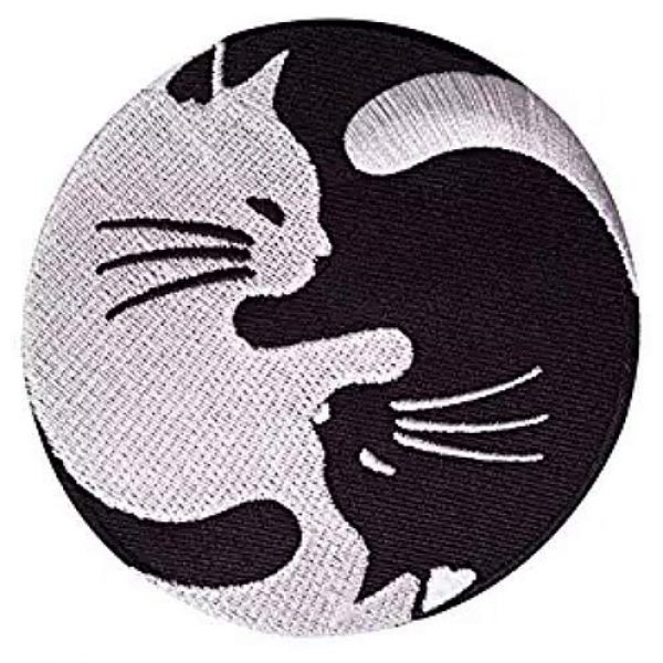 Embroidery Patch Airsoft Morale Patch 3 Cat Yin Yang Kung Fu Chinese Military Hook Loop Tactics Morale Embroidered Patch