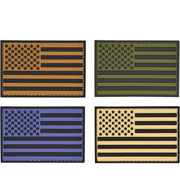 Great 1 Products Airsoft Morale Patch 1 Great 1 Products American Flag Patch Set, 2x3 inch, Flexible PVC Material, Hook and Loop, Military and Tactical Accessory for Clothing-Jackets-Hats-Backpacks (Thin Blue Line Set 2)