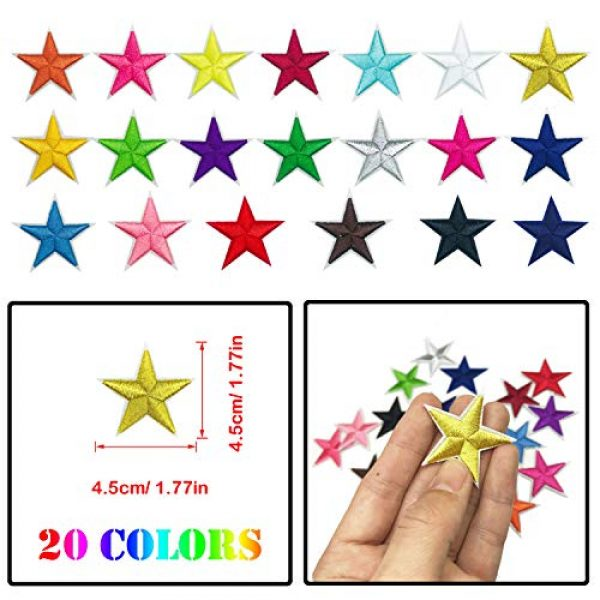 Woohome Airsoft Morale Patch 4 Woohome 31 PCS Assorted Star Iron on Patches Sew on Patches Embroidered Appliques for DIY Clothing Accessories