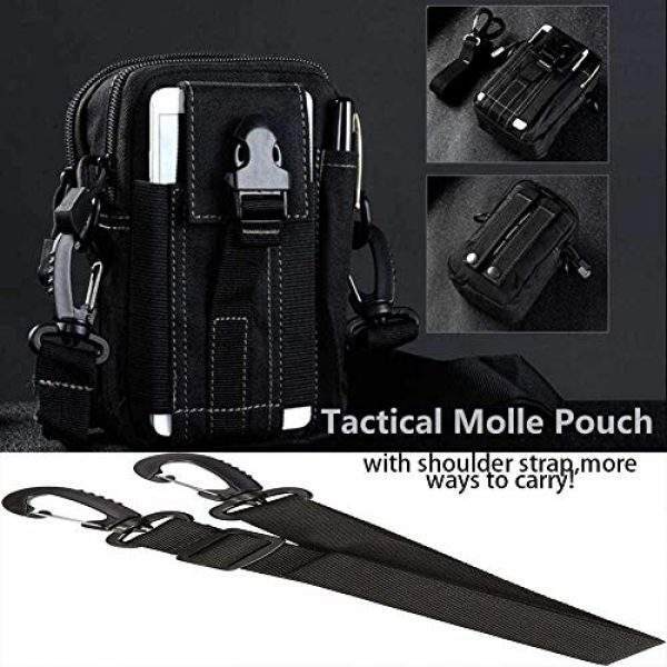 JASLITE Tactical Pouch 2 JASLITE Tactical Molle EDC Pouch, Utility Pouch Bags 1000D Multipurpose Utility Gadget Belt Waist Bag,with Cell Phone Holster Holder, Shoulder Strap
