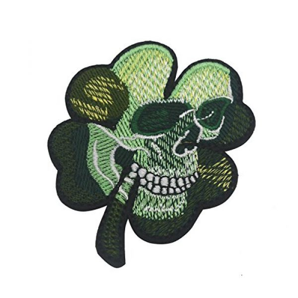 Zhikang68 Airsoft Morale Patch 2 Irish Clover Shamrock Skull Head Biker Tactical Morale Badge Emblem Embroidered Sew On Applique Patch (Green Skull)