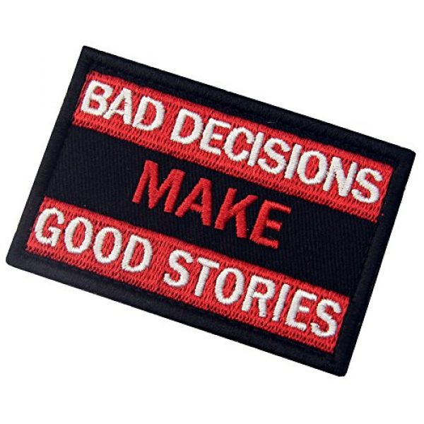 EmbTao Airsoft Morale Patch 4 Bad Decisions Make Good Stories Tactical Patch Embroidered Morale Applique Fastener Hook & Loop Emblem