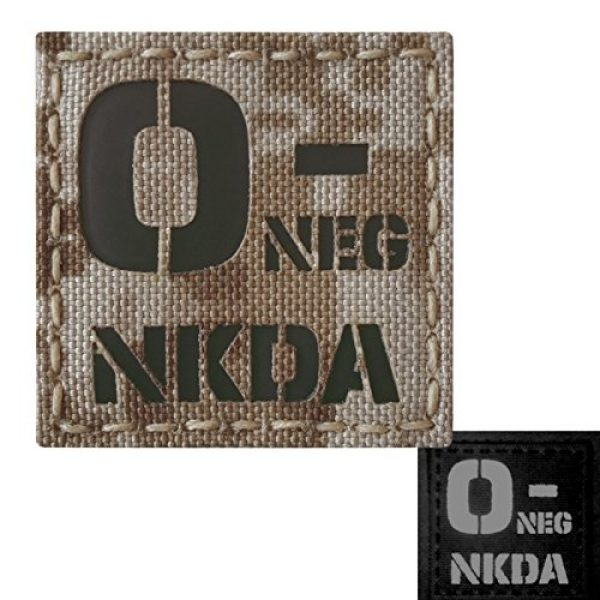 Tactical Freaky Airsoft Morale Patch 3 AOR1 Digital Desert Tan Infrared IR ONEG NKDA O- Blood Type 2x2 Tactical Morale Fastener Patch