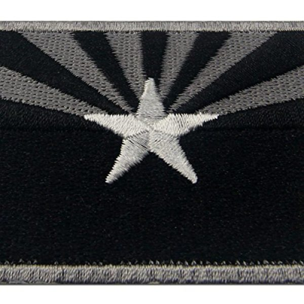 EmbTao Airsoft Morale Patch 2 Arizona State Flag Embroidered Tactical Emblem Iron On Sew On AZ Patch - Black