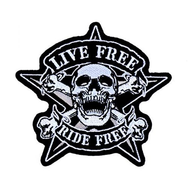 Graphic Dust Airsoft Morale Patch 2 Live Free Ride Free Skull Biker Embroidered Iron On Patch Motorcycle Rock Skeleton Chopper Uniform Jacket Costume Racing Morale Gun Jean Jacket
