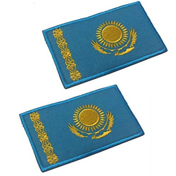 Tactical Embroidery Patch Airsoft Morale Patch 1 2pcs Kazakhstan Flag Embroidery Patch Military Tactical Morale Patch Badges Emblem Applique Hook Patches for Clothes Backpack Accessories