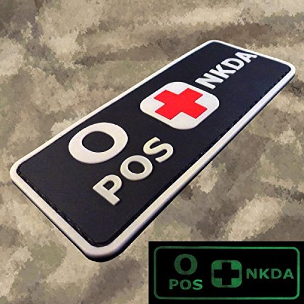 LEGEEON Airsoft Morale Patch 4 LEGEEON PVC Rubber 3D GITD Touch Fastener Patch Blood Type NKDA Glow in The Dark Combat Tactical GID