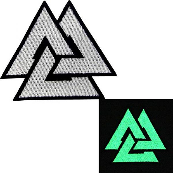 EmbTao Airsoft Morale Patch 2 EmbTao Glow in Dark Valknut Triangle Symbol Viking Norse Rune Morale Tactical Iron On Sew On Patch