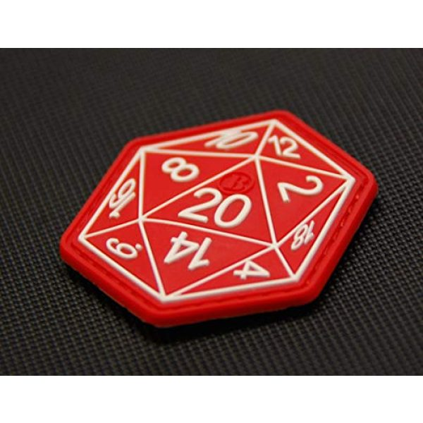 BritKitUSA Airsoft Morale Patch 1 BritKitUSA Dungeons and Dragons Die D20 3D PVC Morale Patch Hook Backing D&D Hook Backing