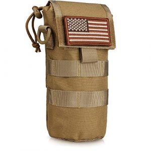 WYNEX Tactical Pouch 1 WYNEX Molle Water Bottle Pouch Folding, Tactcail Molle Foldable Water Bottle Holder Kettle Hydration Carrier Water Bottles Bag with Mesh Bottom Insulated Drawstring with Flag Patch