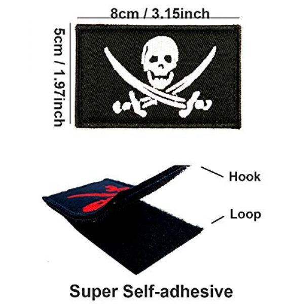 JumpyFire Airsoft Morale Patch 2 JumpyFire Skull Pirate Velcro Patch, 2 PCS Fully 3D Embroidered Military Morale Patches for Backpack Hat Jacket Jeans Uniform