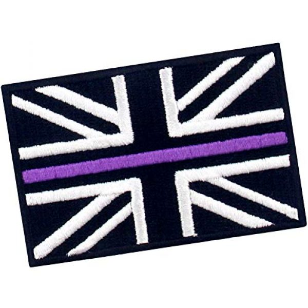 EmbTao Airsoft Morale Patch 3 EmbTao Tactical Thin Purple Line UK Flag British Union Jack Patch Embroidered Morale Applique Iron On Sew On Emblem