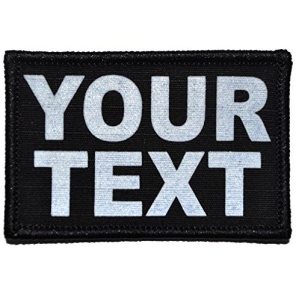 Tactical Gear Junkie Airsoft Morale Patch 2 Custom Reflective Patch - 2 x 3 inch Custom Text Patch - Black