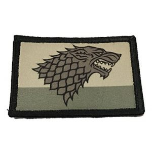 """RedheadedTshirts Airsoft Morale Patch 1 Distressed Game of Thrones House Stark Sigil Morale Patch Military Tactical 2x3"""" Hook and Loop Made in The USA"""