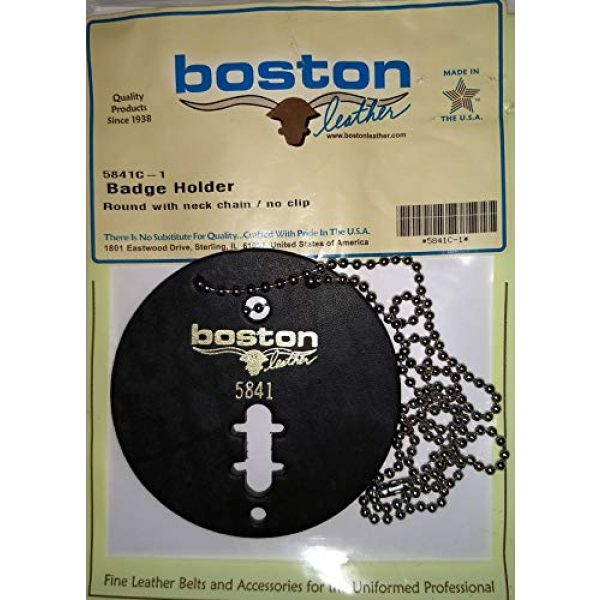 Boston Leather Tactical Pouch 2 Boston Leather Round Badge Holder with Neck Chain -no Clip