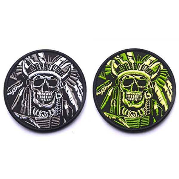 Antrix Airsoft Morale Patch 1 Antrix 2 Pack Tactical Indian Chief Horror Dead Skull Applique Fastener Hook and Loop Military Badge Emblem Patch for Backpacks Caps Hats Vests Bags