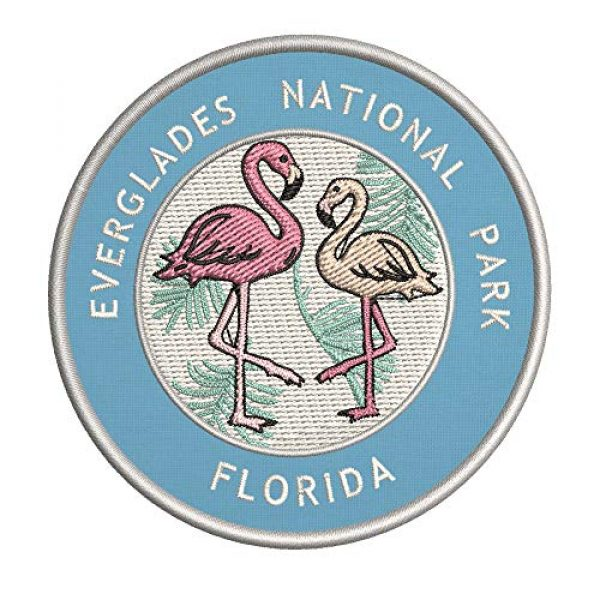 Appalachian Spirit Airsoft Morale Patch 1 Flamingos Everglades National Park, Florida Two Flamingos Embroidered Premium Patch DIY Iron-on or Sew-on Decorative Badge Emblem Vacation Souvenir Travel Gear Clothes Appliques