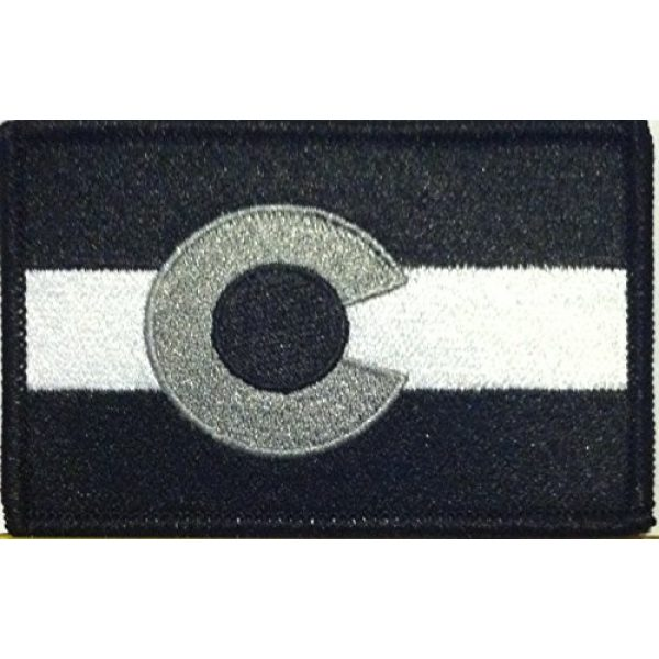 Fast Service Designs Airsoft Morale Patch 1 COLORADO Flag Embroidered Iron-on Patch Black, White & Gray Version Morale Military Emblem Black Border #06