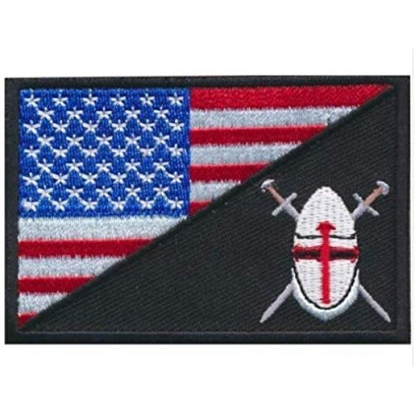 Tactical Embroidery Patch Airsoft Morale Patch 1 USA Flag with Cross Shield Christian Knight Embroidery Patch Military Tactical Morale Patch Badges Emblem Applique Hook Patches for Clothes Backpack Accessories