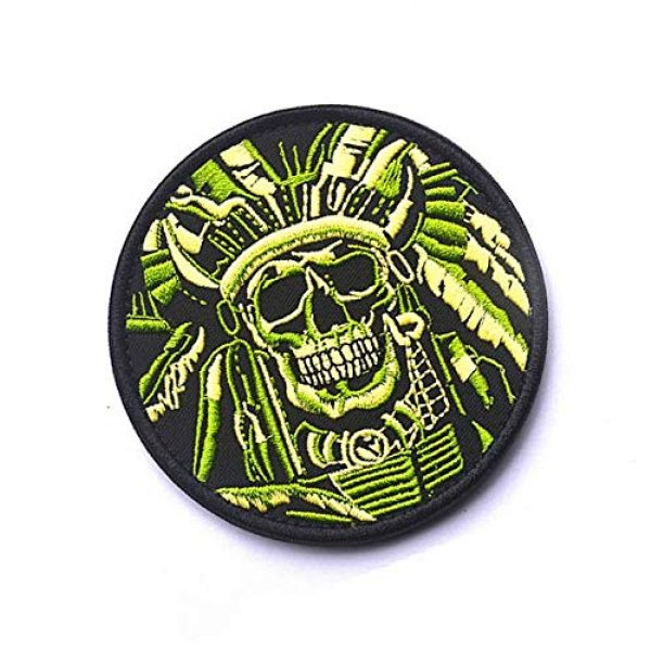Embroidery Patch Airsoft Morale Patch 2 Death Skull Warrior Indian Chief Military Hook Loop Tactics Morale Embroidered Patch (color1)