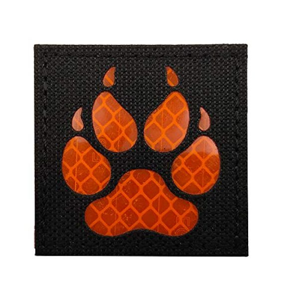 APBVIHL Airsoft Morale Patch 1 Reflective Infrared IR K9 Dog Handler Paw K-9 2x2 Tactical Morale Hook and Loop Fastener Patches