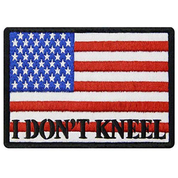 EmbTao Airsoft Morale Patch 1 I Don't Kneel for The Anthem USA Flag Morale Tactical Patch Embroidered Applique Fastener Hook & Loop Emblem