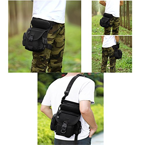 MAXTRA Tactical Pouch 7 MAXTRA Military Tactical Drop Leg Bag Tool Fanny Thigh Pack Leg Rig Utility Pouch Paintball Airsoft Motorcycle Riding Thermite Versipack, Black