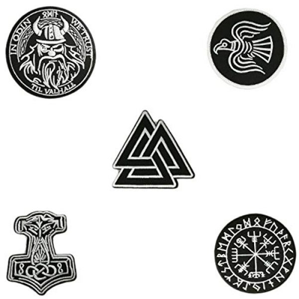 Cute-Patch Airsoft Morale Patch 1 5pcs Set Vikings Iron On Patches Embroidered Norse Rune Badge in Odin WE Trust Emblem