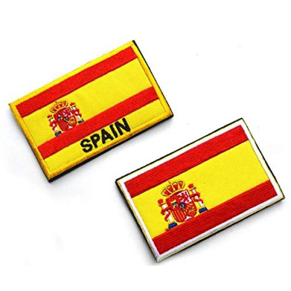 Tactical Embroidery Patch Airsoft Morale Patch 1 2pcs Spain Flag Embroidery Patch Military Tactical Morale Patch Badges Emblem Applique Hook Patches for Clothes Backpack Accessories