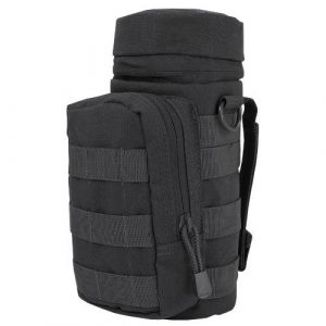 Ultimate Arms Gear Tactical Pouch 1 Ultimate Arms Gear H2O Water Bottle Hydration Tactical MOLLE Webbing Pouch with Hose Tube Pass-Thru, Front Accessory Pocket Compartment, D-Rings & Grommet Drain, Black