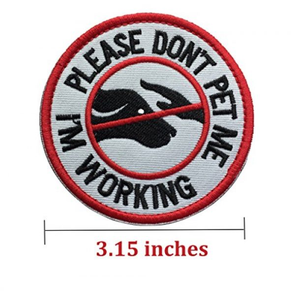 U-LIAN Airsoft Morale Patch 2 U-LIAN 2 Pcs Service Dog Working Do Not Touch Tactical Morale Patch for Dog Vest Harness with Hook Loop Fastener - Please Do Not Pet Me I'm Working Badge