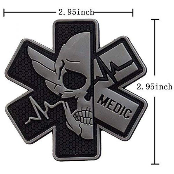 Zhikang68 Airsoft Morale Patch 2 Medic Patch 3D PVC Rubber Paramedic Medical EMS EMT MED First Aid Morale Tactical Morale Skull Military Hook Fasteners Badge (Black Gray)