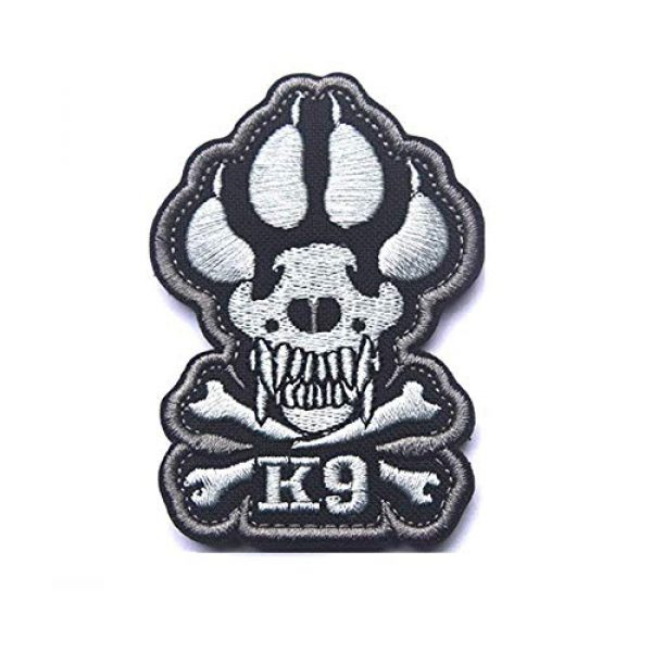 Zhikang68 Airsoft Morale Patch 1 K9 & Crossbone Killer Attack Police Dog Fastener Patch Embroidered Army Swat Morale Hook Loop Backing Tactial Badge Swat for Service Animal Vest (Night Reflective)