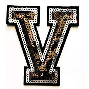 """Glamour Emporium Airsoft Morale Patch 1 3"""" inch Black and Silver Sequin Letter A-Z Iron-on Patch Appliqu© Sewing Alphabet Letter (V)"""