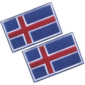 HFDA Airsoft Morale Patch 1 HFDA 2 Piece Different Country Flags Patch - Tactical Combat Military Hook and Loop Badge Embroidered Morale Patch (Iceland)