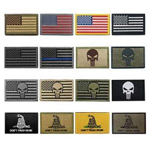 WZT Airsoft Morale Patch 1 WZT Bundle 16 Pieces American Flag Tactical Morale Military Patch Set