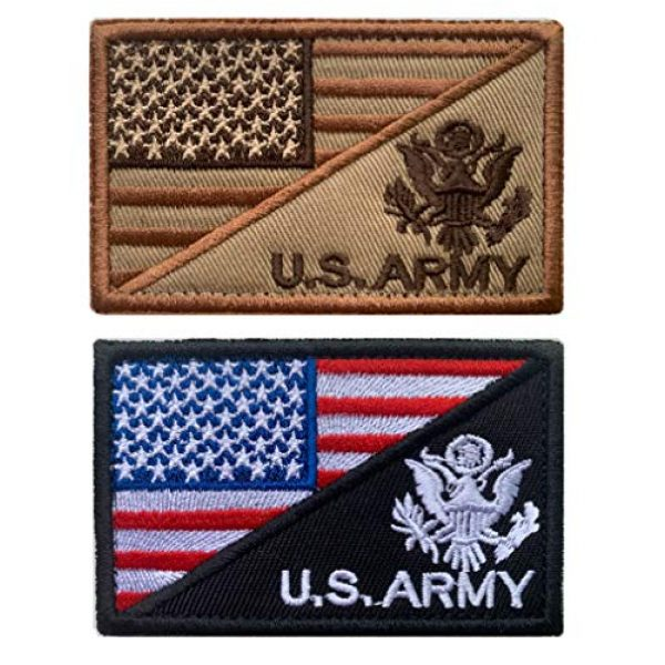 Antrix Airsoft Morale Patch 1 Antrix 2 Pcs American Flag/U.S. Army US Armed Forces Embroidered Military Patches Hook & Loop Emblem Badge for Hats Backpacks Bags Jackets