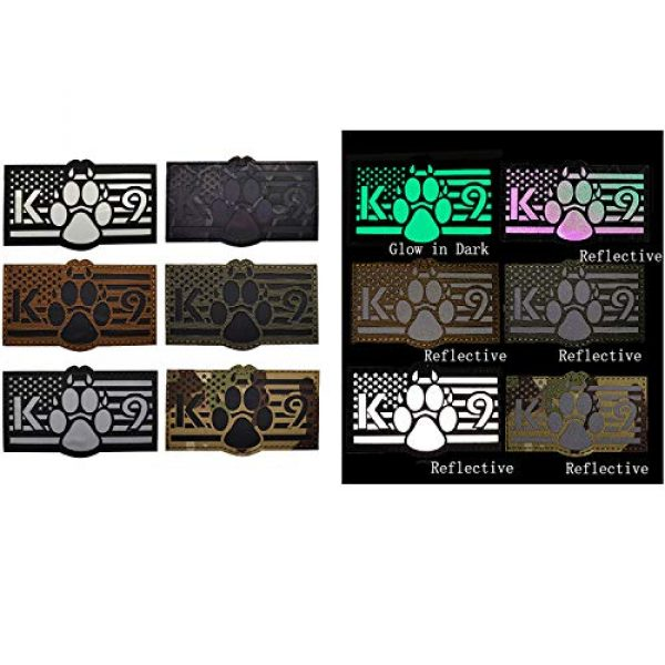 APBVIHL Airsoft Morale Patch 5 Glow in Dark USA Flag K9 Dog Handler Paw K-9 Tactical Morale Fastener Patch, Hook and Loop Backing for Harness Vest, Bundle 2 Pieces, 3.54 x 2.17 Inch