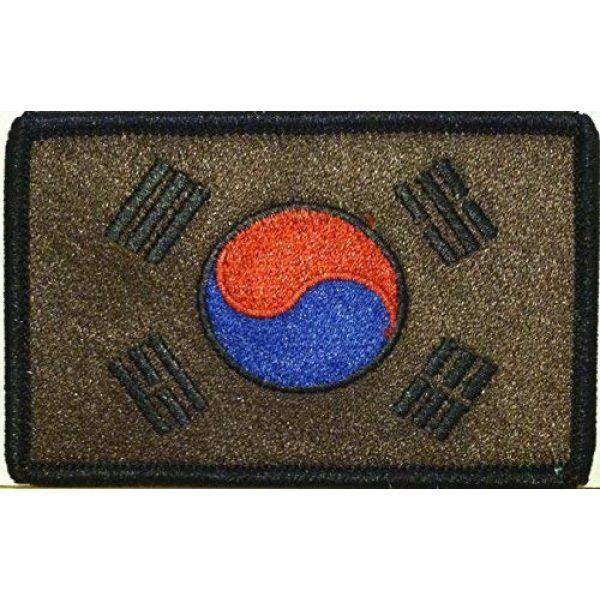 Fast Service Designs Airsoft Morale Patch 1 South Korea Flag Embroidered Patch with Hook & Loop Travel Korean Patriotic MC Biker Morale Emblem Black & Brown Version. Black Border #91
