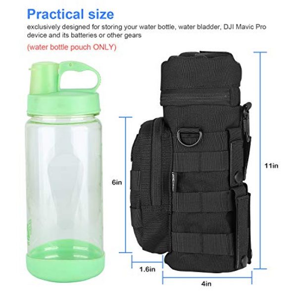 ProCase Tactical Pouch 2 ProCase Water Bottle Pouch, Tactical MOLLE Hydration Carrier Bag with Extra Accessory Pouch and Detachable Shoulder Strap -Black