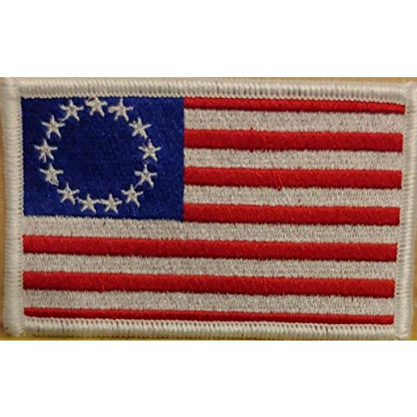 Fast Service Designs Airsoft Morale Patch 2 Betsy Ross with White Stars Flag Embroidered Patch with Hook & Loop Tactical Morale USA Patch White Border