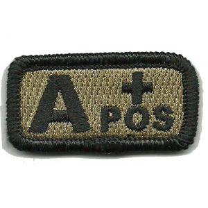 """Gadsden and Culpeper Airsoft Morale Patch 1 Tactical Blood Type Patch""""Type A Positive"""" 1""""x2"""" - Coyote Tan"""