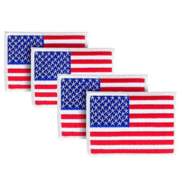 WAYDA Airsoft Morale Patch 1 WAYDA 4Pack American Flag Patch, Iron On or Sew On Uniform Emblem, American Flag Morale Hook Patch (10)