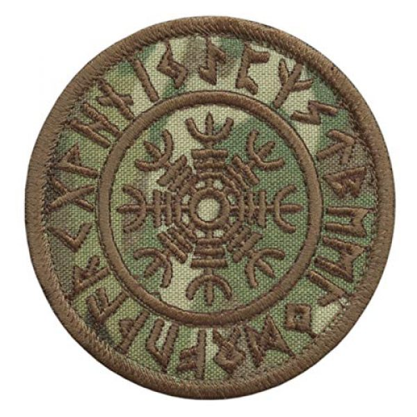 LEGEEON Airsoft Morale Patch 1 LEGEEON Multicam Aegishjalmur Helm of Awe Viking Norse Runic Heathen Magical Stave Morale Tactical Touch Fastener Patch