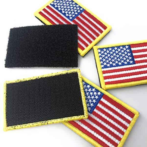 EtherealKiller Airsoft Morale Patch 6 American Flag Velcro Patches, 4pcs Gold Border US Flag Hook and Loop Emblems for Backpacks, Caps, Hats, Jackets, Pants