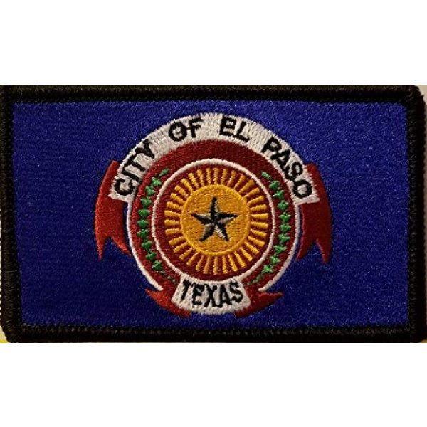 Fast Service Designs Airsoft Morale Patch 1 EL PASO Texas Flag Embroidered Patch with Hook & Loop Morale Tactical Travel Emblem Black Border