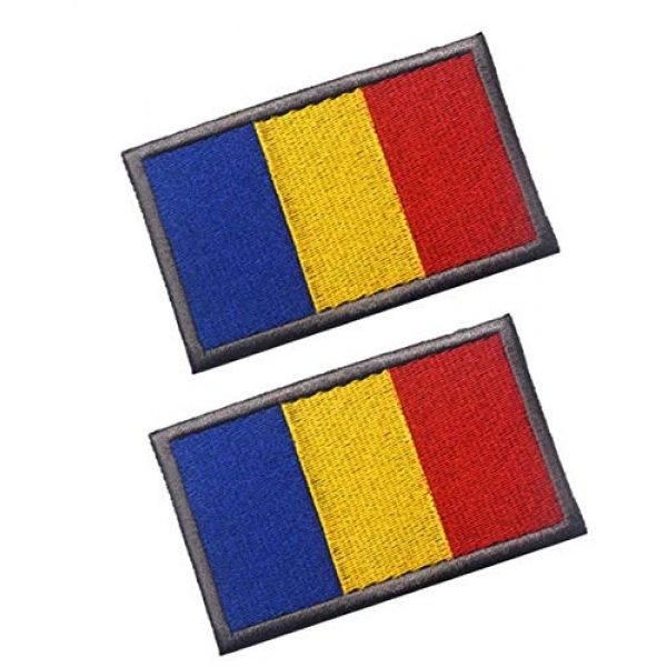Tactical Embroidery Patch Airsoft Morale Patch 1 2pcs Romania Flag Embroidery Patch Military Tactical Morale Patch Badges Emblem Applique Hook Patches for Clothes Backpack Accessories