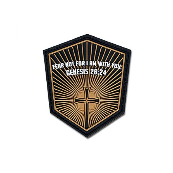 BASTION Airsoft Morale Patch 1 Bastion Tactical Combat Badge PVC Morale Patch Hook and Loop Patch - Genesis 26:24 ACU