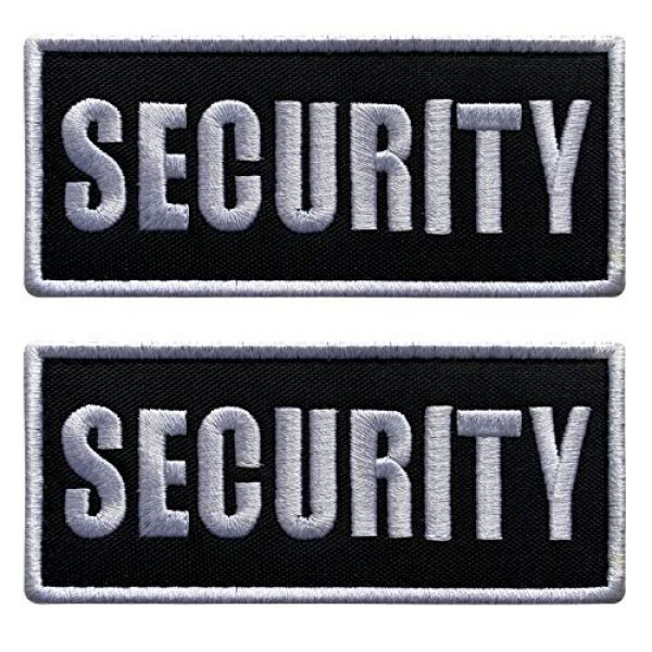 """uuKen Airsoft Morale Patch 1 uuKen Small Embroidered 4x2 inch White Boarder Security Guard Officer Patch 2 Pieces as Pack Set Bundle for Tactical Vest Uniform Clothing Bags Backpacks (White Boarder, 4""""x2"""")"""
